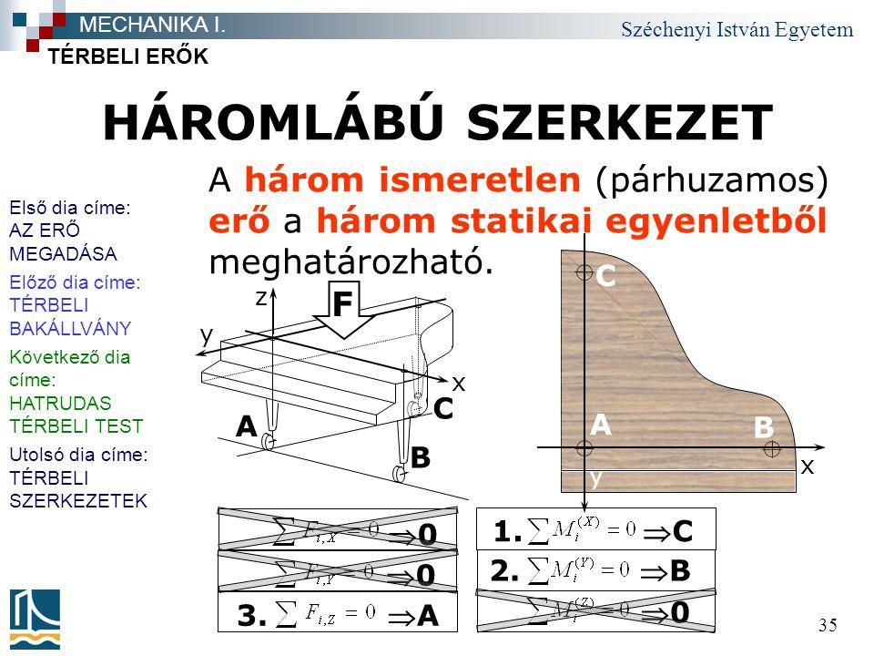 Széchenyi István Egyetem 35 HÁROMLÁBÚ SZERKEZET TÉRBELI ERŐK MECHANIKA I. A három ismeretlen (párhuzamos) erő a három statikai egyenletből meghatározh