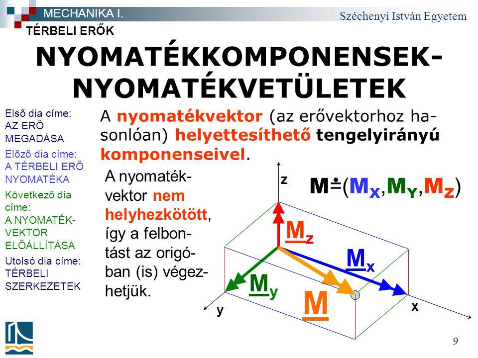 Széchenyi István Egyetem 9 NYOMATÉKKOMPONENSEK- NYOMATÉKVETÜLETEK TÉRBELI ERŐK MECHANIKA I. M =( M X, M Y, M Z ) A nyomatékvektor (az erővektorhoz ha-