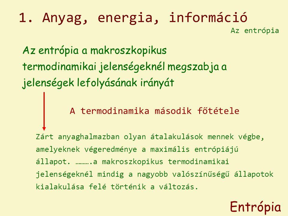 Az entrópia Entrópia A termodinamika második főtétele Zárt anyaghalmazban olyan átalakulások mennek végbe, amelyeknek végeredménye a maximális entrópi