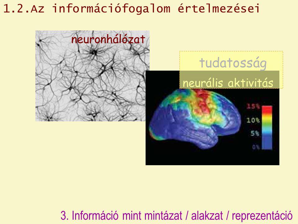 neuronhálózat neurális aktivitás tudatosság 1.2.Az információfogalom értelmezései