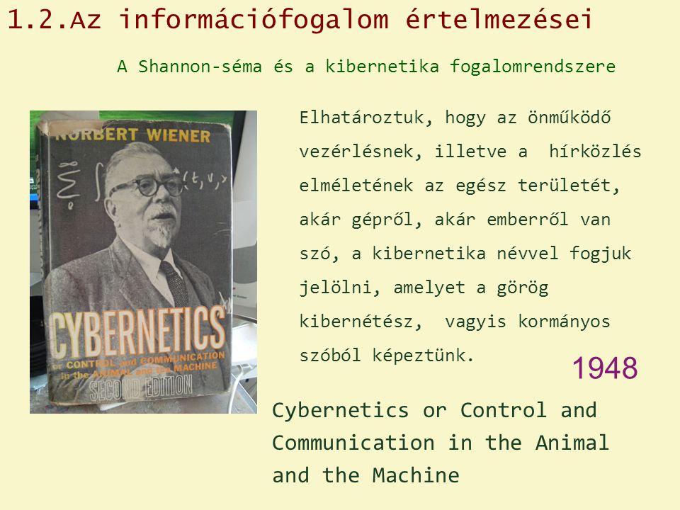 A Shannon-séma és a kibernetika fogalomrendszere Elhatároztuk, hogy az önműködő vezérlésnek, illetve a hírközlés elméletének az egész területét, akár