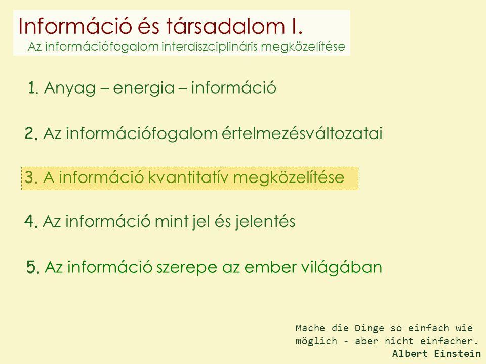 1. Anyag – energia – információ 2. Az információfogalom értelmezésváltozatai 3. A információ kvantitatív megközelítése 4. Az információ mint jel és je