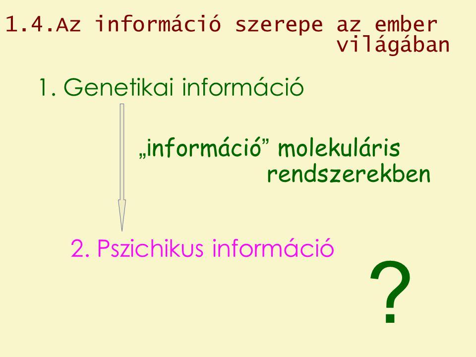 """1.4.Az információ szerepe az ember világában 1. Genetikai információ """"i nformáció """" molekuláris rendszerekben 2. Pszichikus információ ?"""