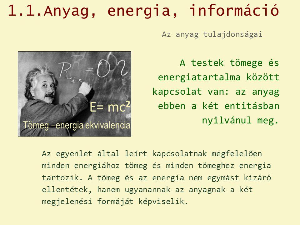 Az anyag tulajdonságai A testek tömege és energiatartalma között kapcsolat van: az anyag ebben a két entitásban nyilvánul meg. Az egyenlet által leírt