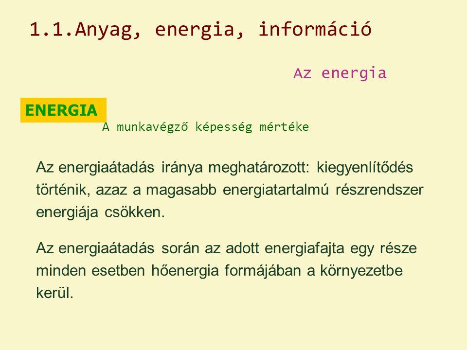Az energia ENERGIA A munkavégző képesség mértéke Az energiaátadás iránya meghatározott: kiegyenlítődés történik, azaz a magasabb energiatartalmú részr