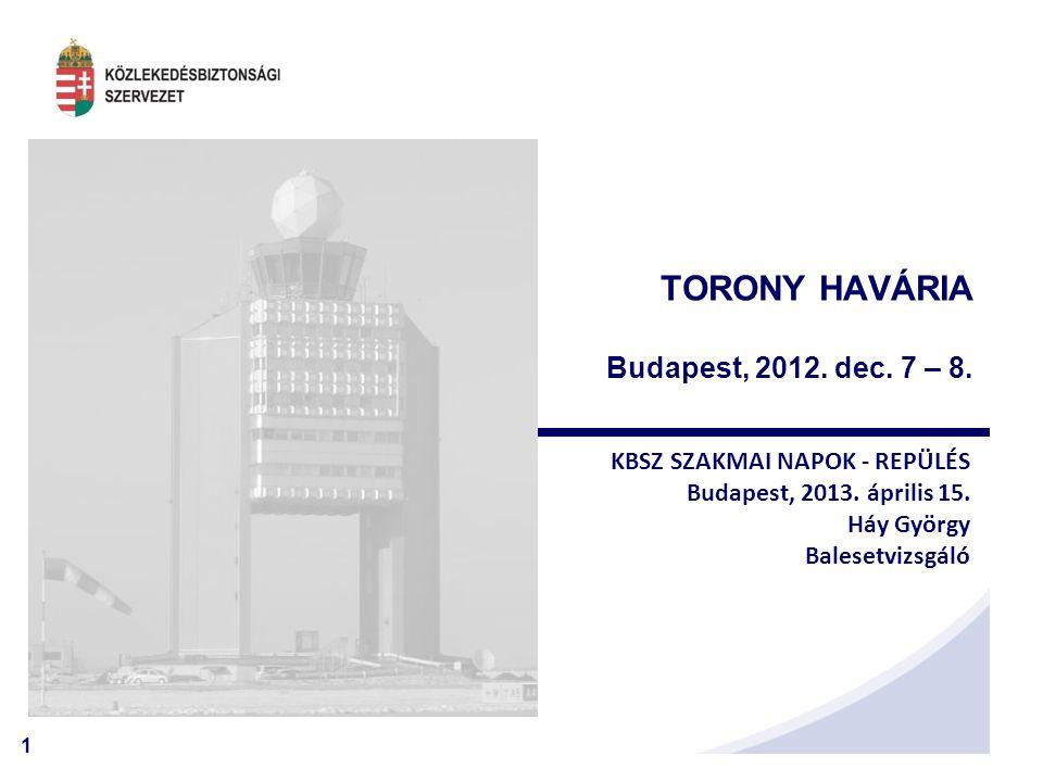 1 TORONY HAVÁRIA Budapest, 2012. dec. 7 – 8. KBSZ SZAKMAI NAPOK - REPÜLÉS Budapest, 2013.