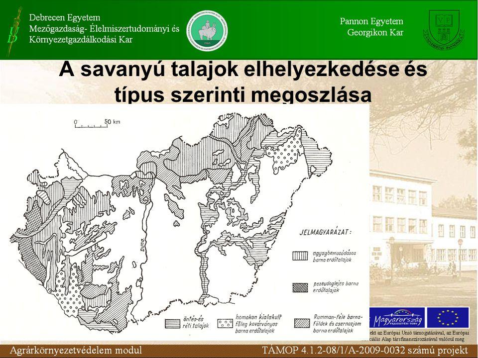 A savanyú talajok elhelyezkedése és típus szerinti megoszlása