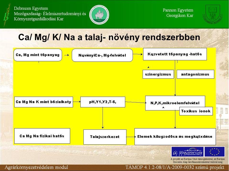 Ca/ Mg/ K/ Na a talaj- növény rendszerbben