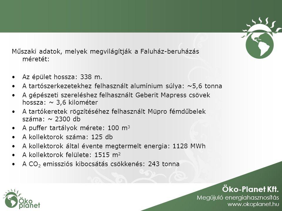 Öko-Planet Kft. Megújuló energiahasznosítás www.okoplanet.hu Műszaki adatok, melyek megvilágítják a Faluház-beruházás méretét: Az épület hossza: 338 m