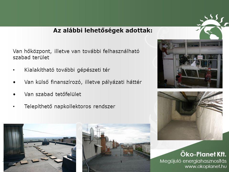 Öko-Planet Kft. Megújuló energiahasznosítás www.okoplanet.hu Az alábbi lehetőségek adottak: Van hőközpont, illetve van további felhasználható szabad t