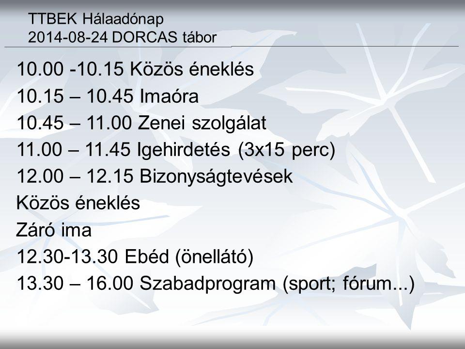 10.00 -10.15 Közös éneklés 10.15 – 10.45 Imaóra 10.45 – 11.00 Zenei szolgálat 11.00 – 11.45 Igehirdetés (3x15 perc) 12.00 – 12.15 Bizonyságtevések Közös éneklés Záró ima 12.30-13.30 Ebéd (önellátó) 13.30 – 16.00 Szabadprogram (sport; fórum...) TTBEK Hálaadónap 2014-08-24 DORCAS tábor