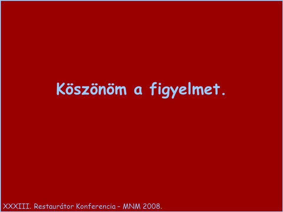 Köszönöm a figyelmet. XXXIII. Restaurátor Konferencia – MNM 2008.