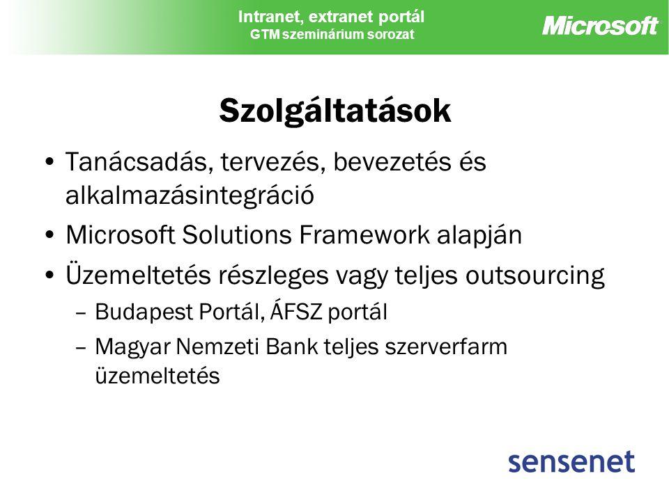 Intranet, extranet portál GTM szeminárium sorozat Szolgáltatások Tanácsadás, tervezés, bevezetés és alkalmazásintegráció Microsoft Solutions Framework