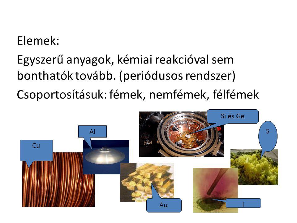 Elemek: Egyszerű anyagok, kémiai reakcióval sem bonthatók tovább.