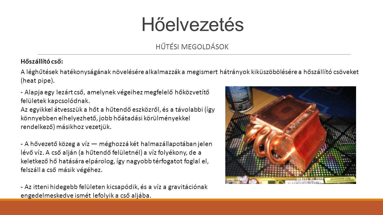 Hőelvezetés HŰTÉSI MEGOLDÁSOK A léghűtések hatékonyságának növelésére alkalmazzák a megismert hátrányok kiküszöbölésére a hőszállító csöveket (heat pi