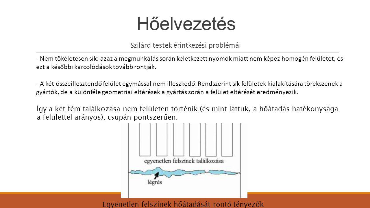 Hőelvezetés Szilárd testek érintkezési problémái - Nem tökéletesen sík: azaz a megmunkálás során keletkezett nyomok miatt nem képez homogén felületet,