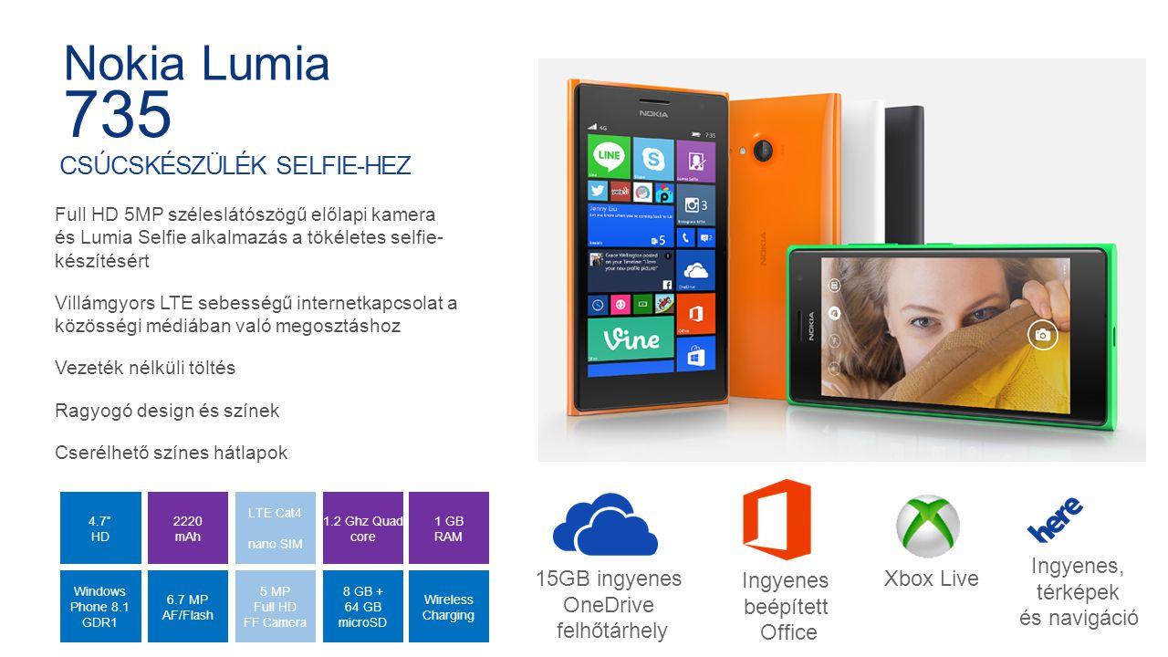 Internal Use Only 1.2 Ghz Quad core 4.7 HD Windows Phone 8.1 GDR1 5 MP Full HD FF Camera 8 GB + 64 GB microSD Wireless Charging LTE Cat4 nano SIM 2220 mAh 6.7 MP AF/Flash 1 GB RAM CSÚCSKÉSZÜLÉK SELFIE-HEZ Full HD 5MP széleslátószögű előlapi kamera és Lumia Selfie alkalmazás a tökéletes selfie- készítésért Villámgyors LTE sebességű internetkapcsolat a közösségi médiában való megosztáshoz Vezeték nélküli töltés Ragyogó design és színek Cserélhető színes hátlapok Nokia Lumia 735 15GB ingyenes OneDrive felhőtárhely Ingyenes beépített Office Xbox Live Ingyenes, térképek és navigáció