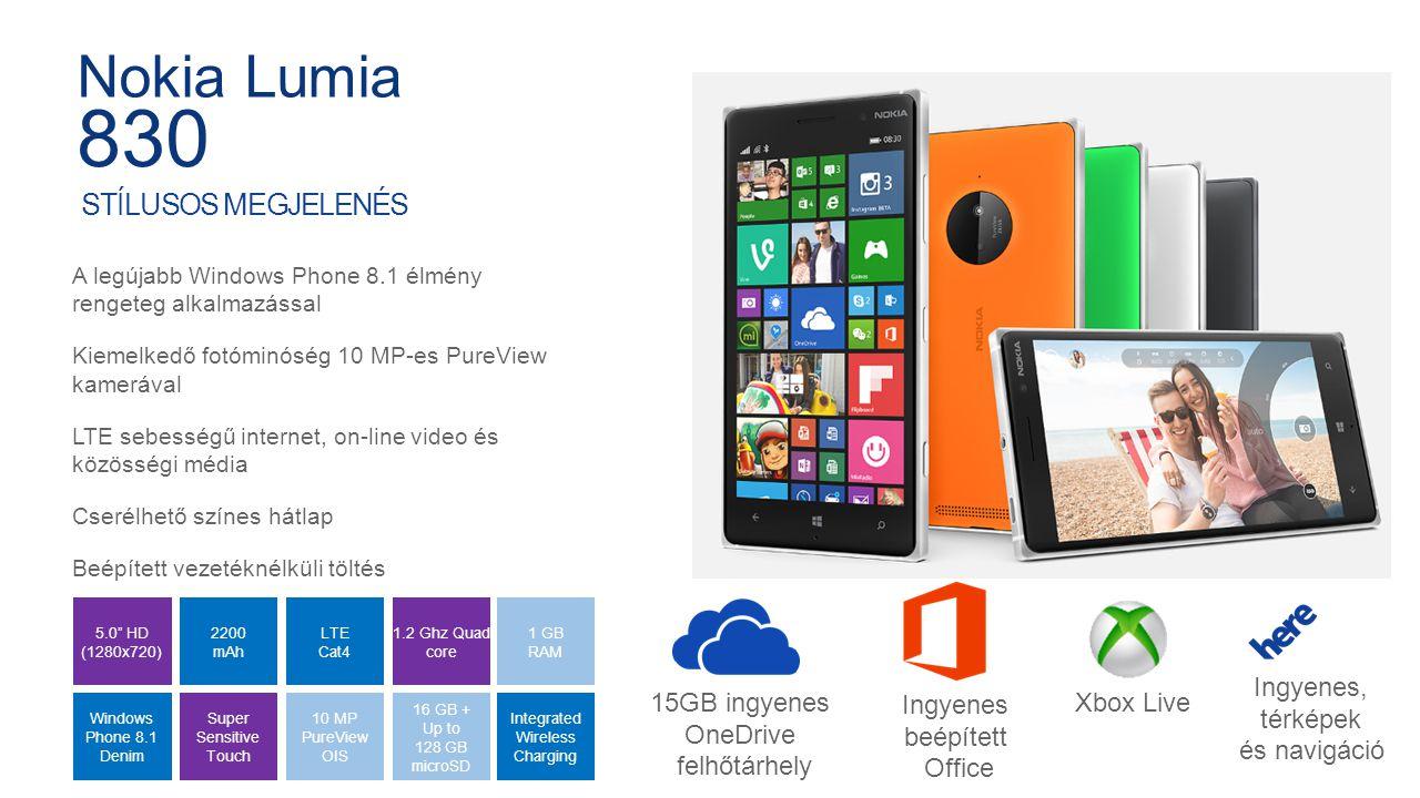 Internal Use Only Prémium alumínium design A legújabb Windows Phone 8.1 élmény rengeteg alkalmazással Bámulatos fotó és videórögítési képesség 20 MP-es PureView kamerával és optikai képstabilizátorral Kültéren is kiválóan olvasható ragyogó 5 full HD kijelző Könnyed vezeték nélküli töltés 4 mics Dolby Surround 5.0 Full HD OLED Windows Phone 8.1 Dual Led Flash 32 GB Premium Metal 2.2 Ghz Quad Core LTE 2420 mAh Wireless Charging 2 GB RAM 20 MP Pureview OIS GYÖNYÖRŰ ÉS ERŐTELJES Nokia Lumia 930 15GB ingyenes OneDrive felhőtárhely Ingyenes beépített Office Xbox Live Ingyenes, térképek és navigáció