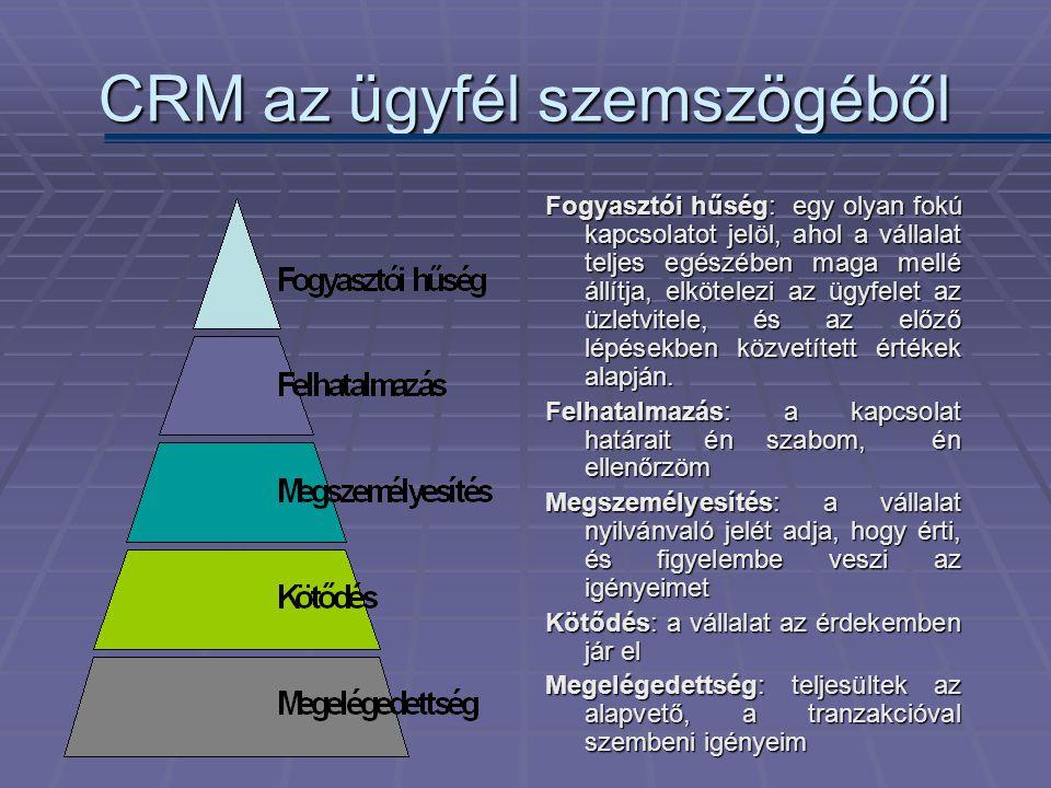 CRM az ügyfél szemszögéből Fogyasztói hűség: egy olyan fokú kapcsolatot jelöl, ahol a vállalat teljes egészében maga mellé állítja, elkötelezi az ügyf