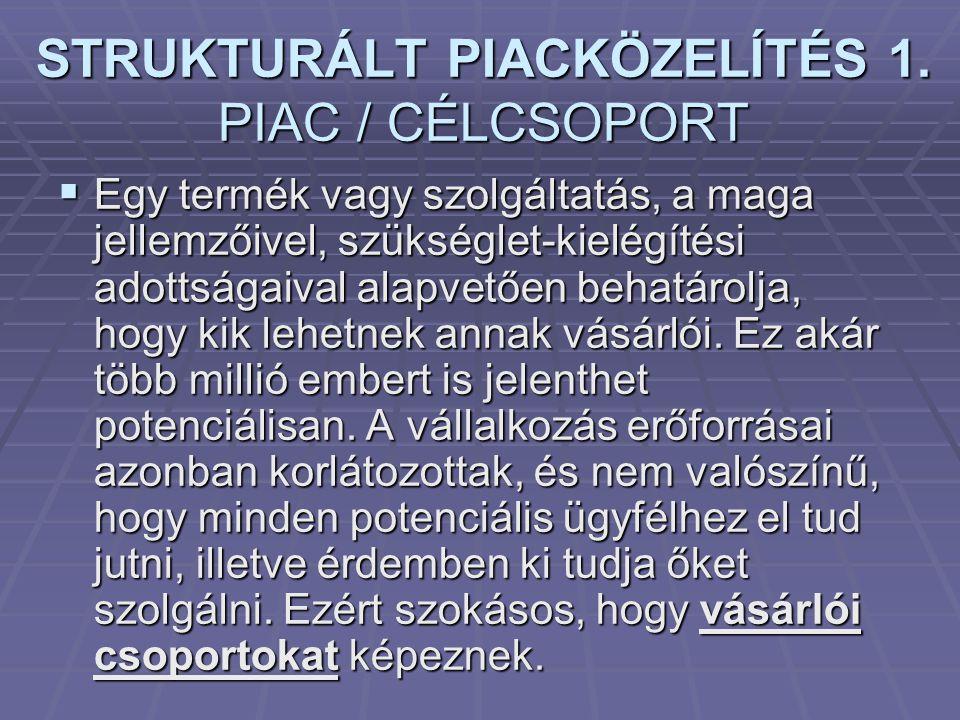 STRUKTURÁLT PIACKÖZELÍTÉS 1. PIAC / CÉLCSOPORT  Egy termék vagy szolgáltatás, a maga jellemzőivel, szükséglet-kielégítési adottságaival alapvetően be