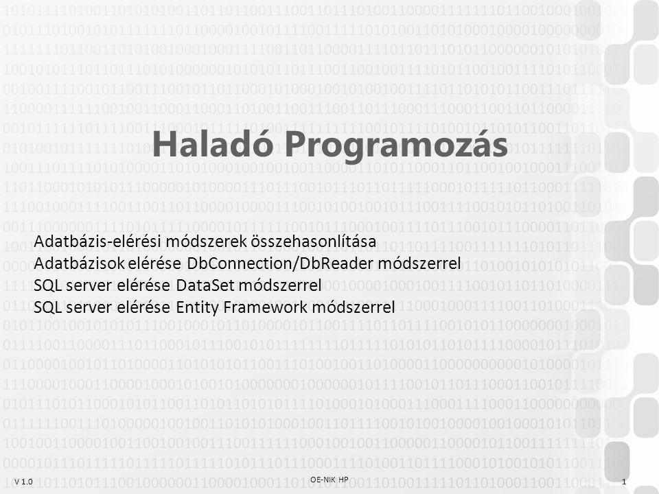 V 1.0 OE-NIK HP 1 Haladó Programozás Adatbázis-elérési módszerek összehasonlítása Adatbázisok elérése DbConnection/DbReader módszerrel SQL server elér