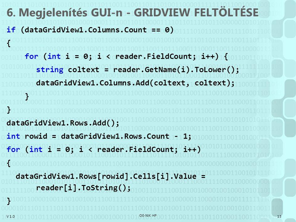 V 1.0 6. Megjelenítés GUI-n - GRIDVIEW FELTÖLTÉSE if (dataGridView1.Columns.Count == 0) { for (int i = 0; i < reader.FieldCount; i++) { string coltext