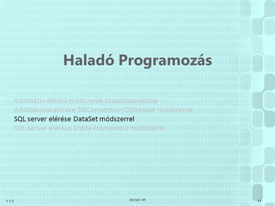 V 1.0 OE-NIK HP 14 Haladó Programozás Adatbázis-elérési módszerek összehasonlítása Adatbázisok elérése DbConnection/DbReader módszerrel SQL server elé
