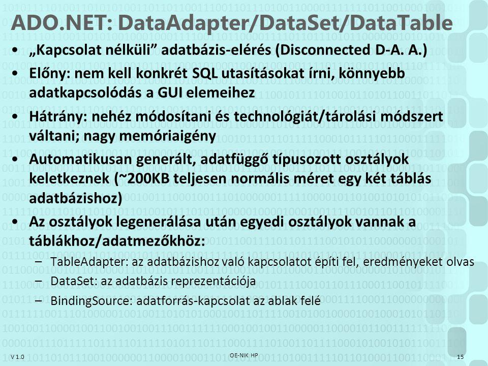 """V 1.0 ADO.NET: DataAdapter/DataSet/DataTable """"Kapcsolat nélküli"""" adatbázis-elérés (Disconnected D-A. A.) Előny: nem kell konkrét SQL utasításokat írni"""