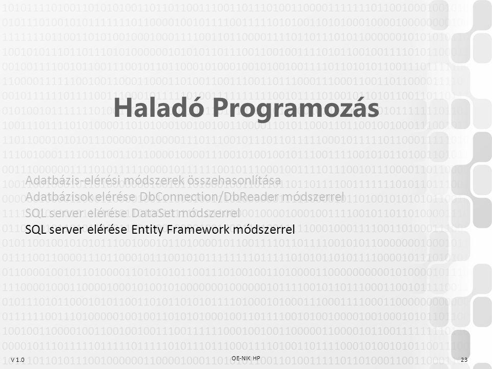 V 1.0 OE-NIK HP 23 Haladó Programozás Adatbázis-elérési módszerek összehasonlítása Adatbázisok elérése DbConnection/DbReader módszerrel SQL server elé