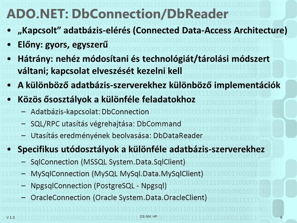 """V 1.0 ADO.NET: DbConnection/DbReader """"Kapcsolt"""" adatbázis-elérés (Connected Data-Access Architecture) Előny: gyors, egyszerű Hátrány: nehéz módosítani"""