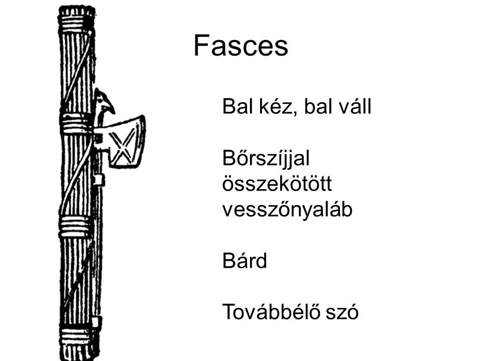 Fasces Bal kéz, bal váll Bőrszíjjal összekötött vesszőnyaláb Bárd Továbbélő szó