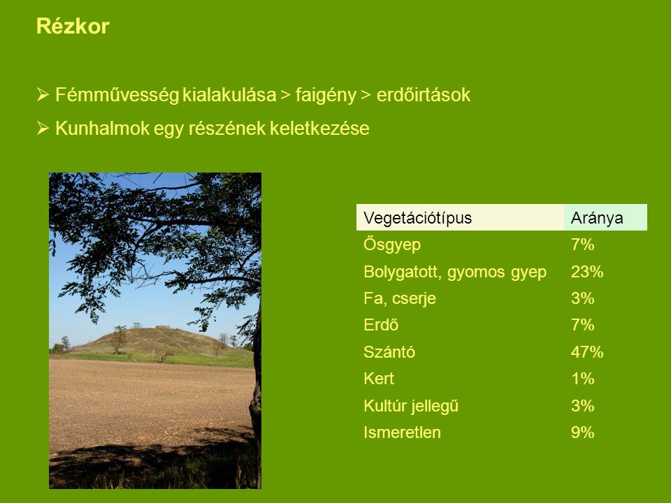 Rézkor  Fémművesség kialakulása > faigény > erdőirtások  Kunhalmok egy részének keletkezése VegetációtípusAránya Ősgyep7% Bolygatott, gyomos gyep23%