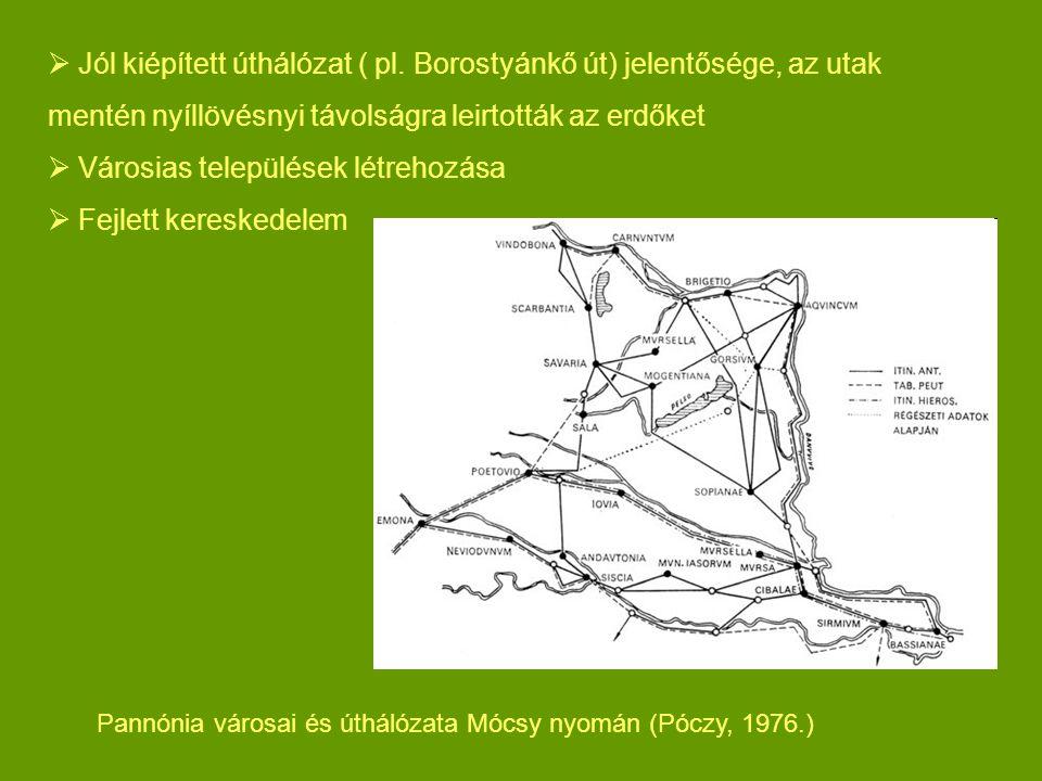  Jól kiépített úthálózat ( pl. Borostyánkő út) jelentősége, az utak mentén nyíllövésnyi távolságra leirtották az erdőket  Városias települések létre