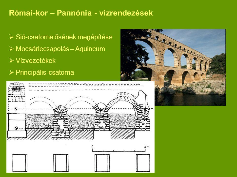 Római-kor – Pannónia - vízrendezések  Sió-csatorna ősének megépítése  Mocsárlecsapolás – Aquincum  Vízvezetékek  Principális-csatorna