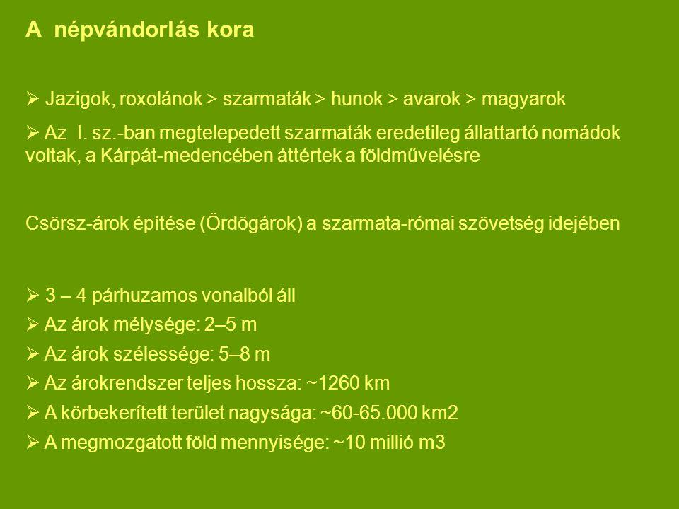 A népvándorlás kora  Jazigok, roxolánok > szarmaták > hunok > avarok > magyarok  Az I. sz.-ban megtelepedett szarmaták eredetileg állattartó nomádok
