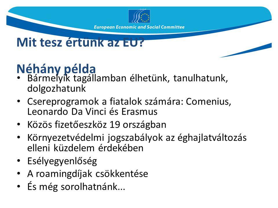 Mit tesz értünk az EU? Néhány példa Bármelyik tagállamban élhetünk, tanulhatunk, dolgozhatunk Csereprogramok a fiatalok számára: Comenius, Leonardo Da