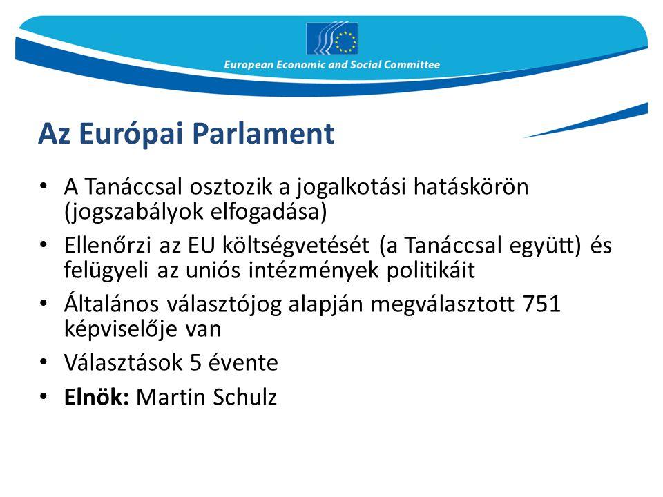Az Európai Parlament A Tanáccsal osztozik a jogalkotási hatáskörön (jogszabályok elfogadása) Ellenőrzi az EU költségvetését (a Tanáccsal együtt) és fe