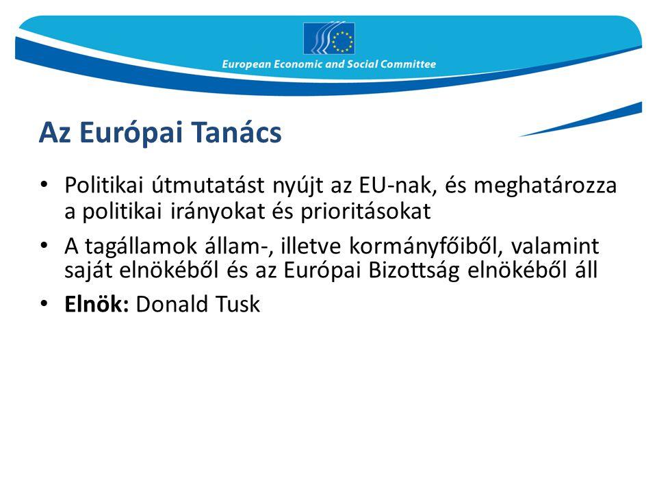 Az Európai Tanács Politikai útmutatást nyújt az EU-nak, és meghatározza a politikai irányokat és prioritásokat A tagállamok állam-, illetve kormányfői