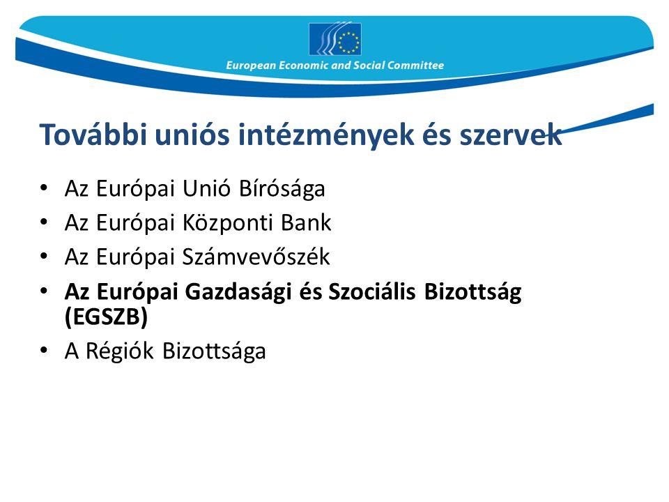 További uniós intézmények és szervek Az Európai Unió Bírósága Az Európai Központi Bank Az Európai Számvevőszék Az Európai Gazdasági és Szociális Bizot