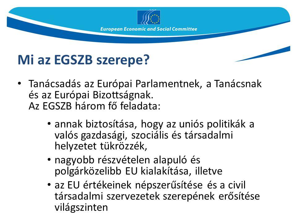 Mi az EGSZB szerepe? Tanácsadás az Európai Parlamentnek, a Tanácsnak és az Európai Bizottságnak. Az EGSZB három fő feladata: annak biztosítása, hogy a
