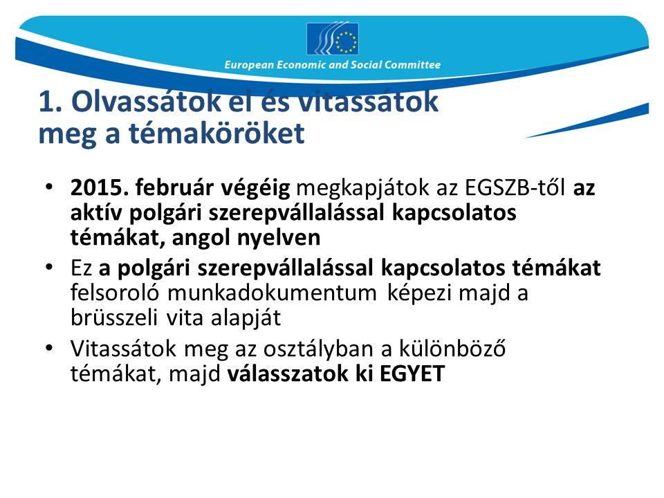 2015. február végéig megkapjátok az EGSZB-től az aktív polgári szerepvállalással kapcsolatos témákat, angol nyelven Ez a polgári szerepvállalással kap