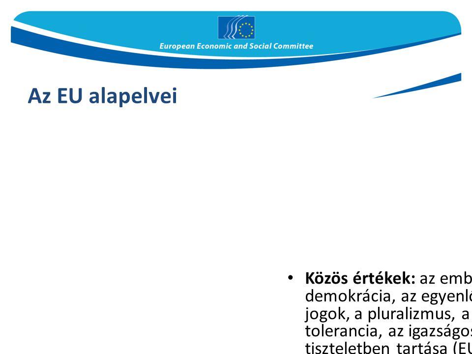 Az EU alapelvei Közös értékek: az emberi méltóság, a szabadság, a demokrácia, az egyenlőség, a jogállamiság, az emberi jogok, a pluralizmus, a megkülö