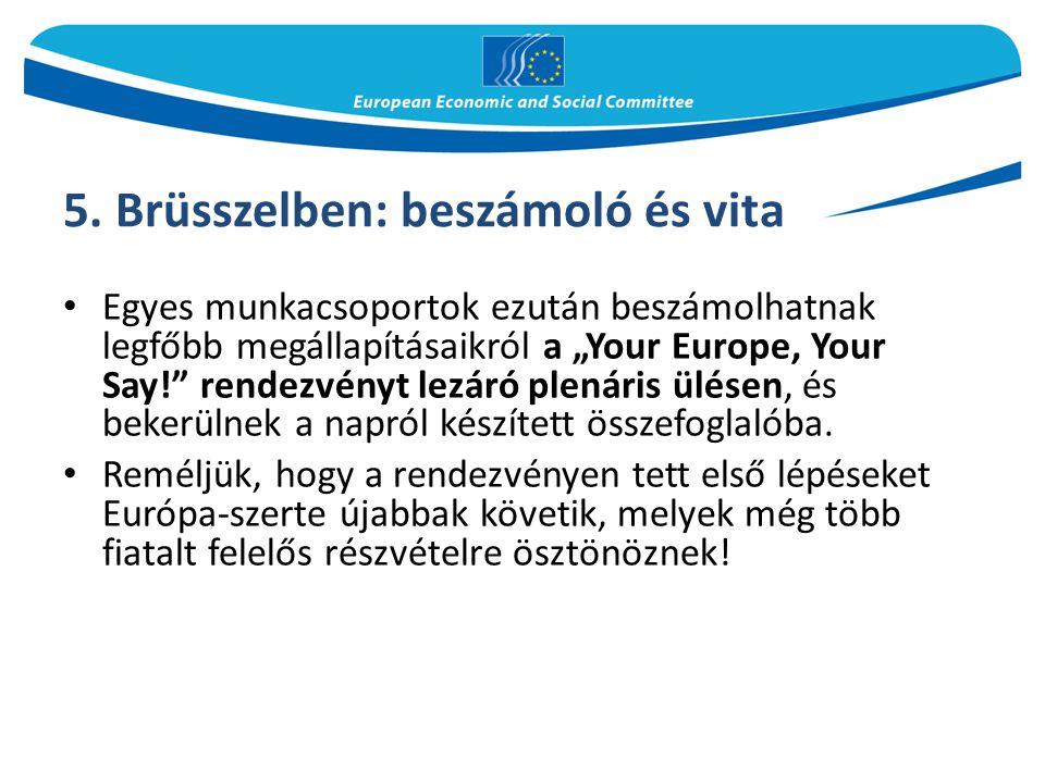 """5. Brüsszelben: beszámoló és vita Egyes munkacsoportok ezután beszámolhatnak legfőbb megállapításaikról a """"Your Europe, Your Say!"""" rendezvényt lezáró"""