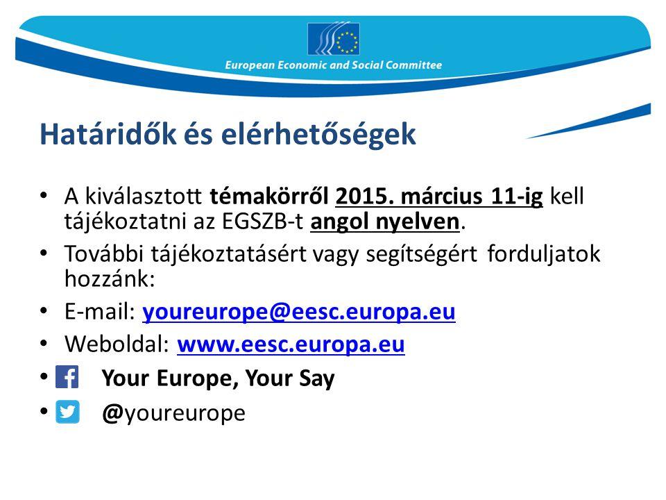 Határidők és elérhetőségek A kiválasztott témakörről 2015. március 11-ig kell tájékoztatni az EGSZB-t angol nyelven. További tájékoztatásért vagy segí
