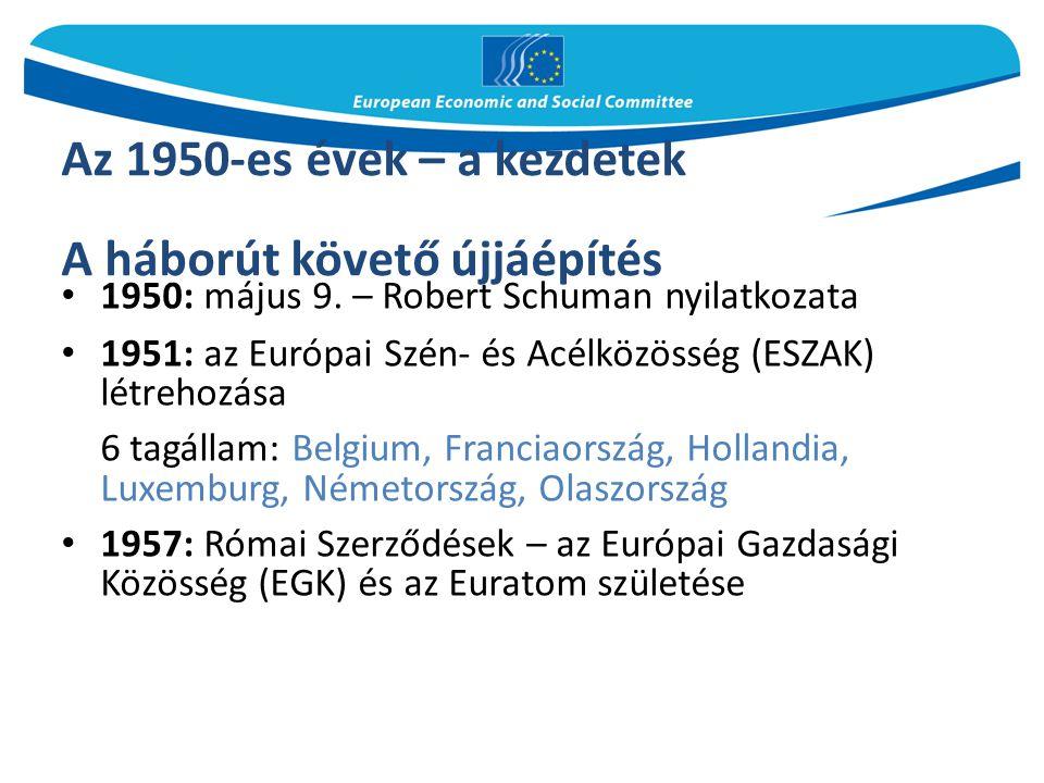 Az 1950-es évek – a kezdetek A háborút követő újjáépítés 1950: május 9. – Robert Schuman nyilatkozata 1951: az Európai Szén- és Acélközösség (ESZAK) l