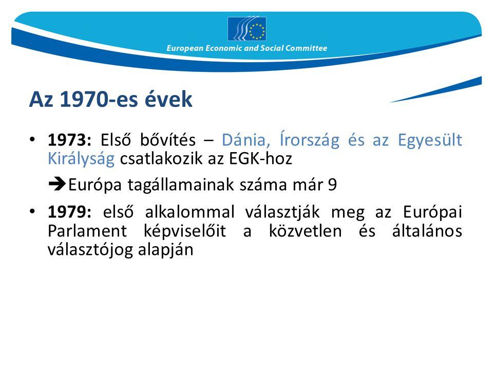 Az 1980-as évek – konszolidáció Bővítés dél-európai országok belépésével: Görögország (1981), Spanyolország és Portugália (1986)  Európa tagállamainak száma már 12 1986: aláírják a Római Szerződést módosító Egységes Európai Okmányt 1990: a német újraegyesítéssel a volt NDK is az EGK részévé válik