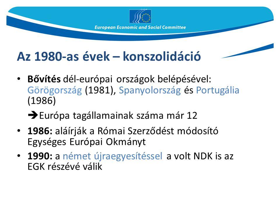Az 1990-es évek 1993: a Maastrichti Szerződés hatálybalépésével létrejön az egységes európai piac 1995: újabb bővítés – Ausztria, Finnország, Svédország  Európa tagállamainak száma már 15