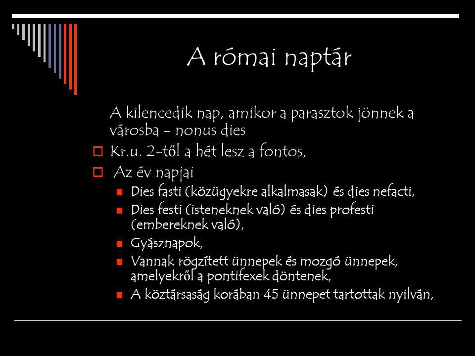 A római naptár A kilencedik nap, amikor a parasztok jönnek a városba - nonus dies  Kr.u.