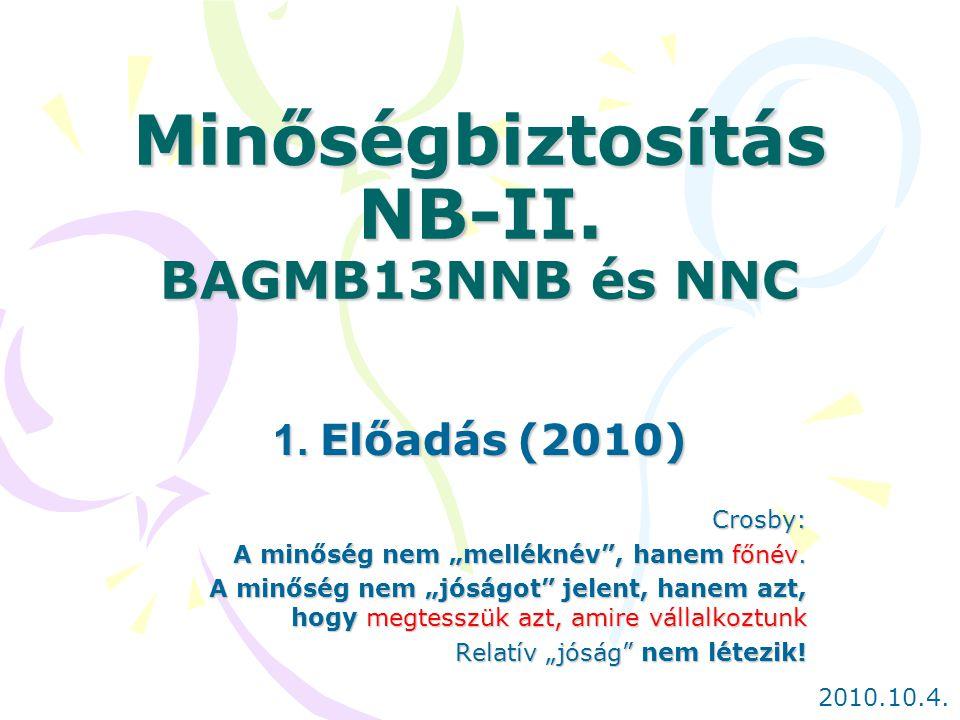 """Minőségbiztosítás NB-II. BAGMB13NNB és NNC 1. Előadás (2010) Crosby: A minőség nem """"melléknév"""", hanem főnév. A minőség nem """"jóságot"""" jelent, hanem azt"""