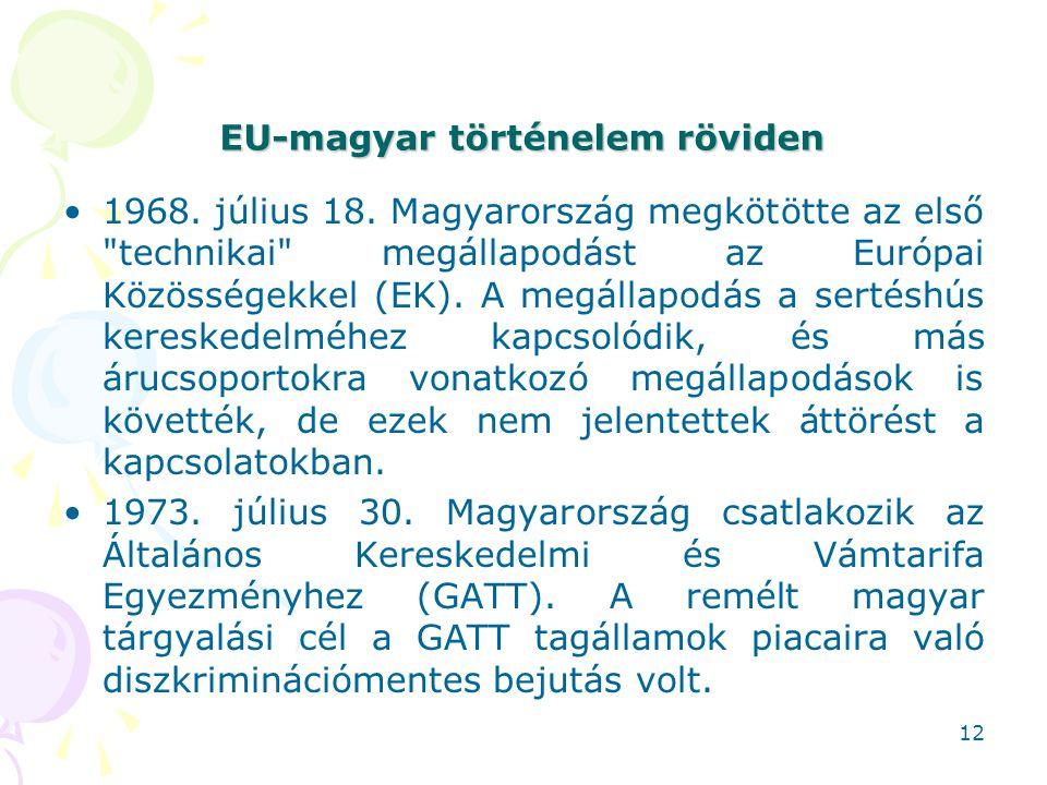 EU-magyar történelem röviden 1968. július 18. Magyarország megkötötte az első